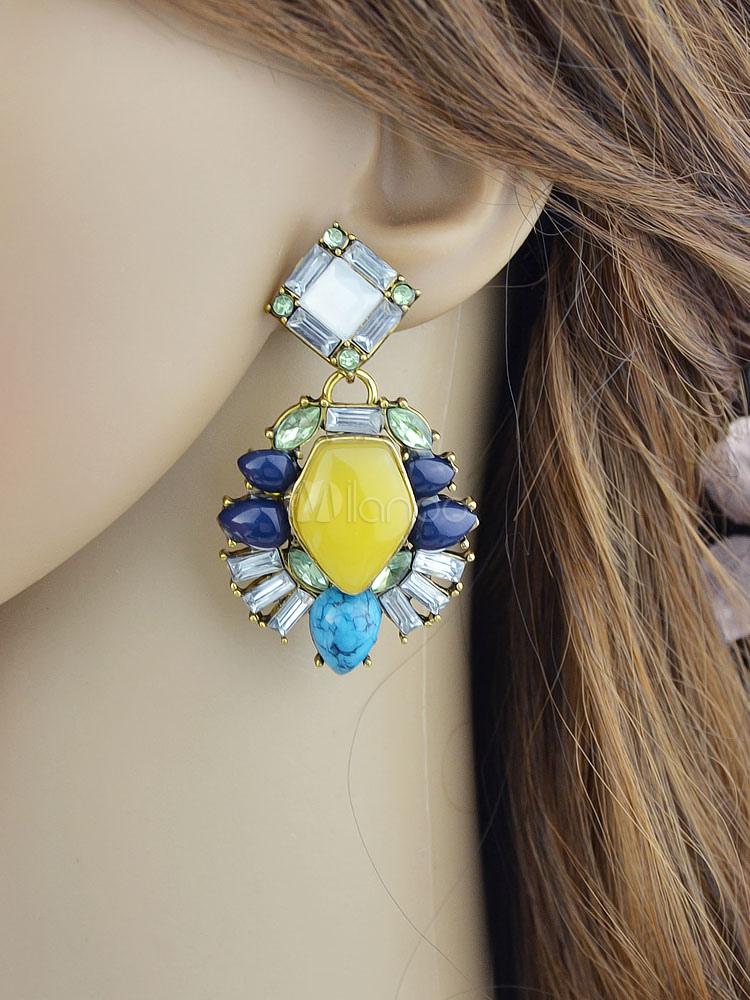 Yellow Pendant Earrings Women's Crystal Beaded Chandelier Earrings thumbnail
