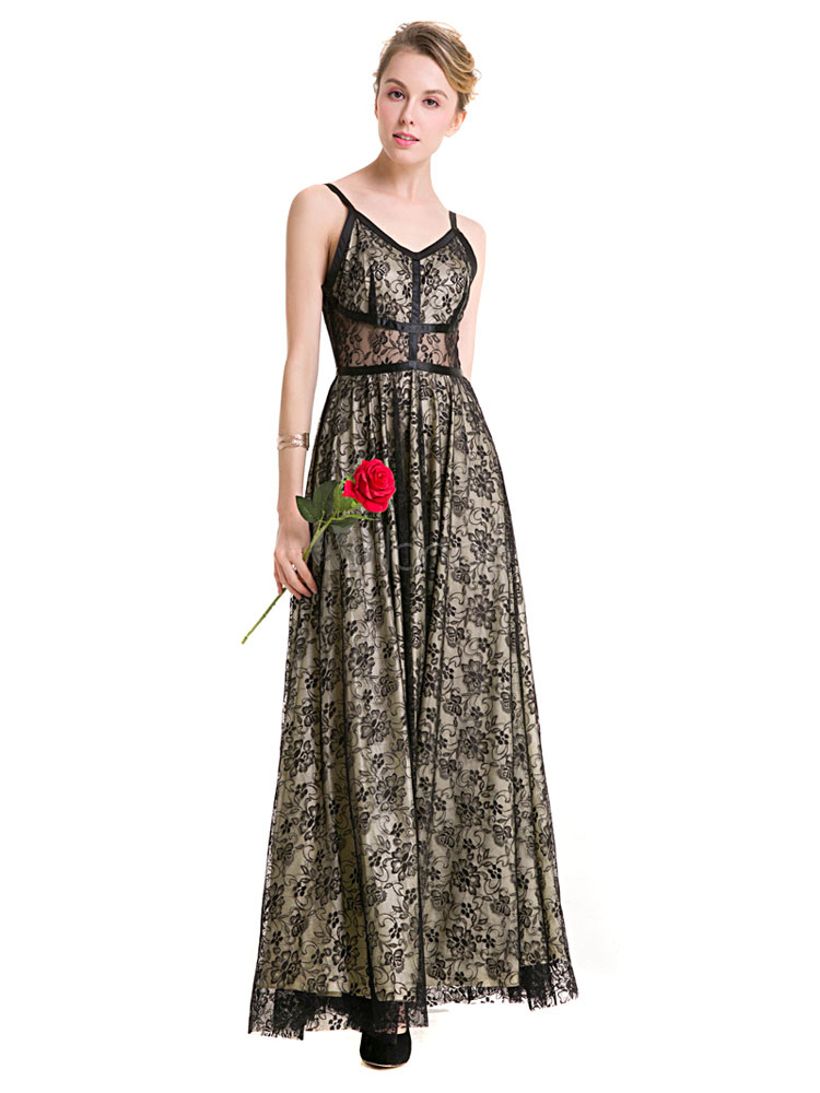 Black Maxi Dress Lace Strappy Sleeveless Pleated Long Dress For Women (Women\\'s Clothing Maxi Dresses) photo