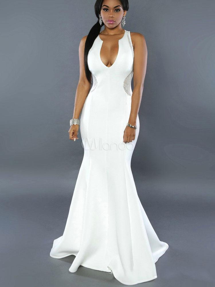 White Club Dress Women's Plunging Neckline Sleeveless Net Semi Sheer Mermaid Maxi Dress (Women\\'s Clothing Club Dresses) photo