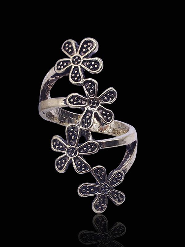 Bronze Wrap Rings Women's Plum Blossoms Shaped Alloy Stylish Jewelry thumbnail