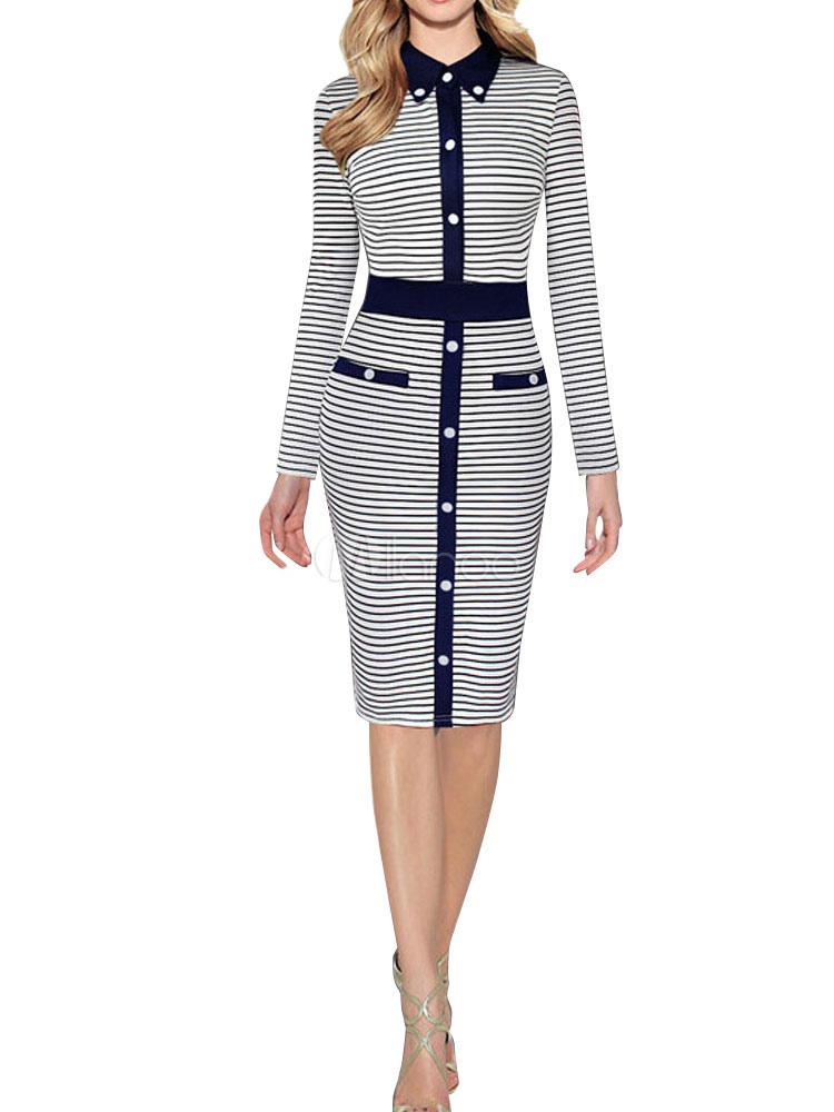 Shirt Dress Bodycon Long Sleeve Strip Button Vintage Dress Women 1950 Dress (Women\\'s Clothing Bodycon Dresses) photo