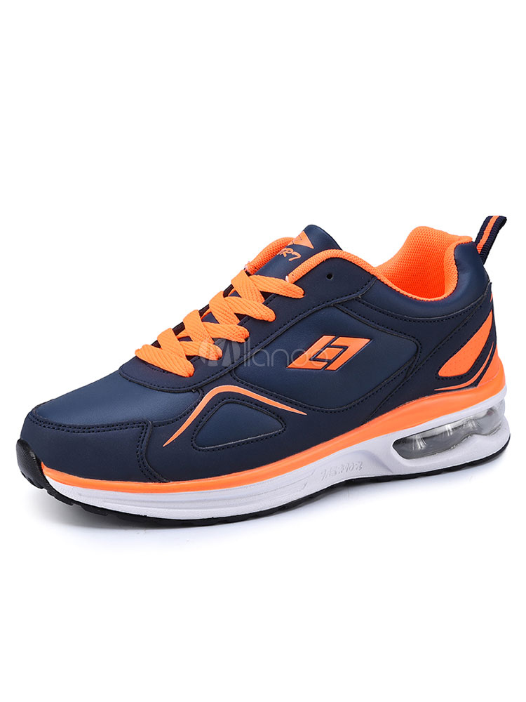 Men's Running Shoes Two Tone Round Toe Lace Up Sneakers thumbnail