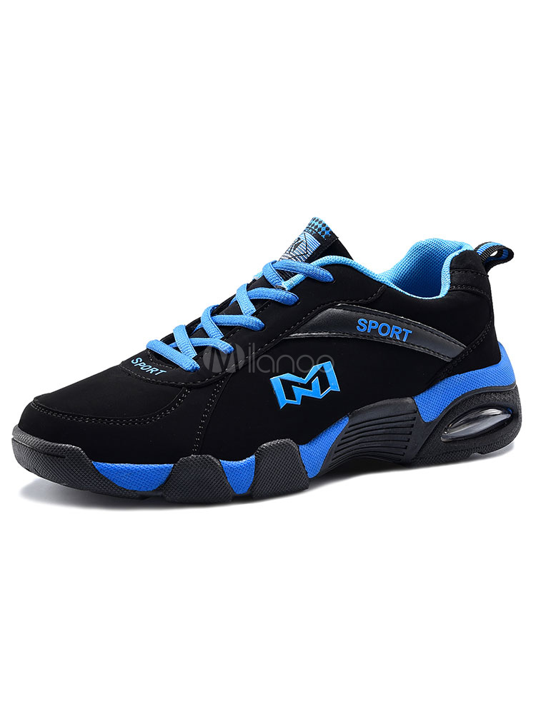 Men's Blue Sneakers Round Toe Lace Up Running Shoes thumbnail