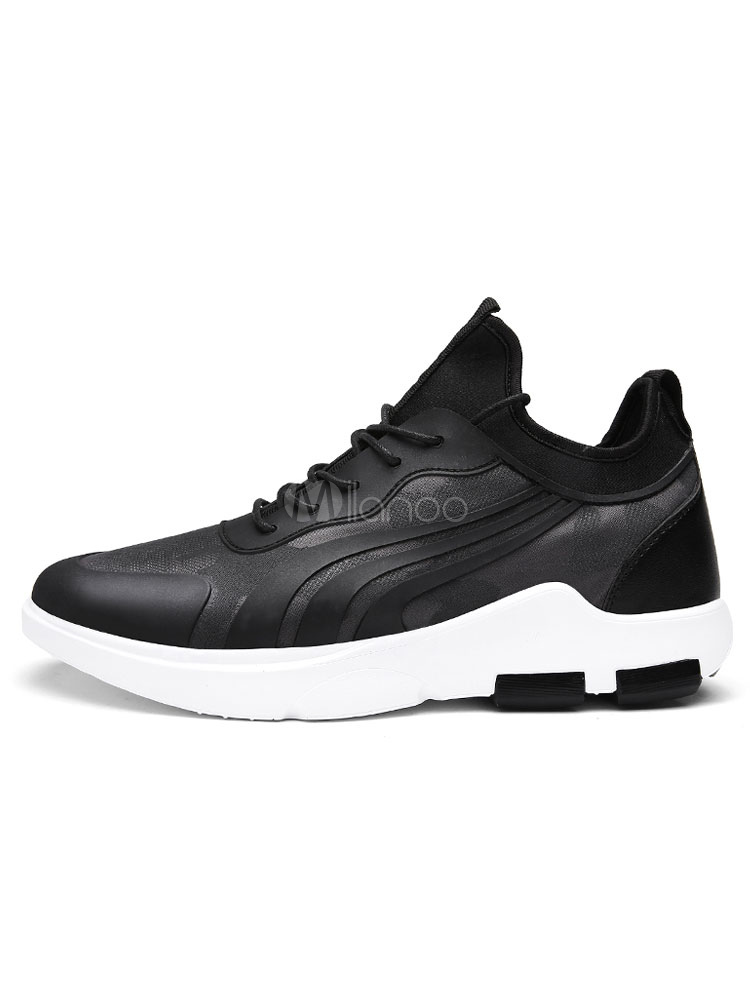 Men's Black Sneakers Round Toe PU Lace Up Casual Shoes thumbnail