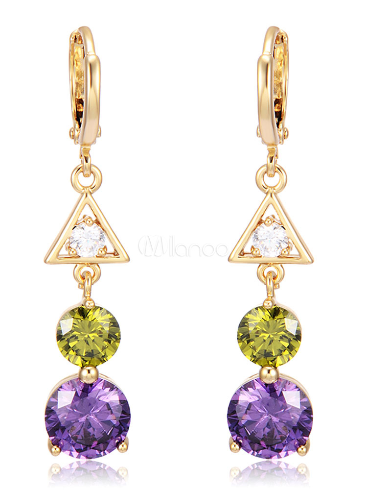 Purple Dangle Earrings Women's Rhinestones Beaded Long Pendant Earrings thumbnail