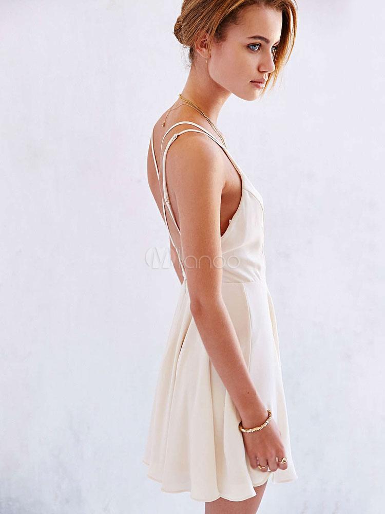 White Skater Dress Spaghetti Straps V Neck Sleeveless Backless ...