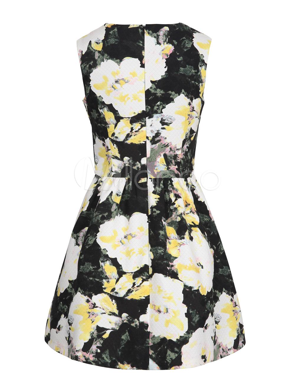 Floral Black Dress Short Sleeveless Women's Printed Summer Dress (Women\\'s Clothing Skater Dresses) photo