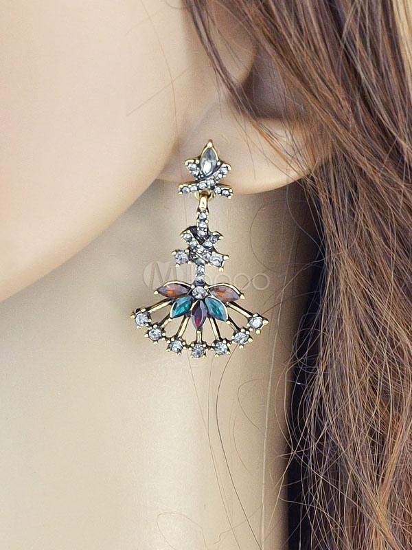 Silver Drop Earrings Women's Rhinestones Pierced Dangle Earrings thumbnail