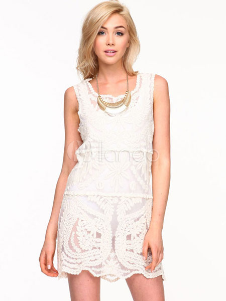 White Lace Dress Jewel Neck Sleeveless Semi-Sheer Short Dress For Women (Women\\'s Clothing Lace Dresses) photo