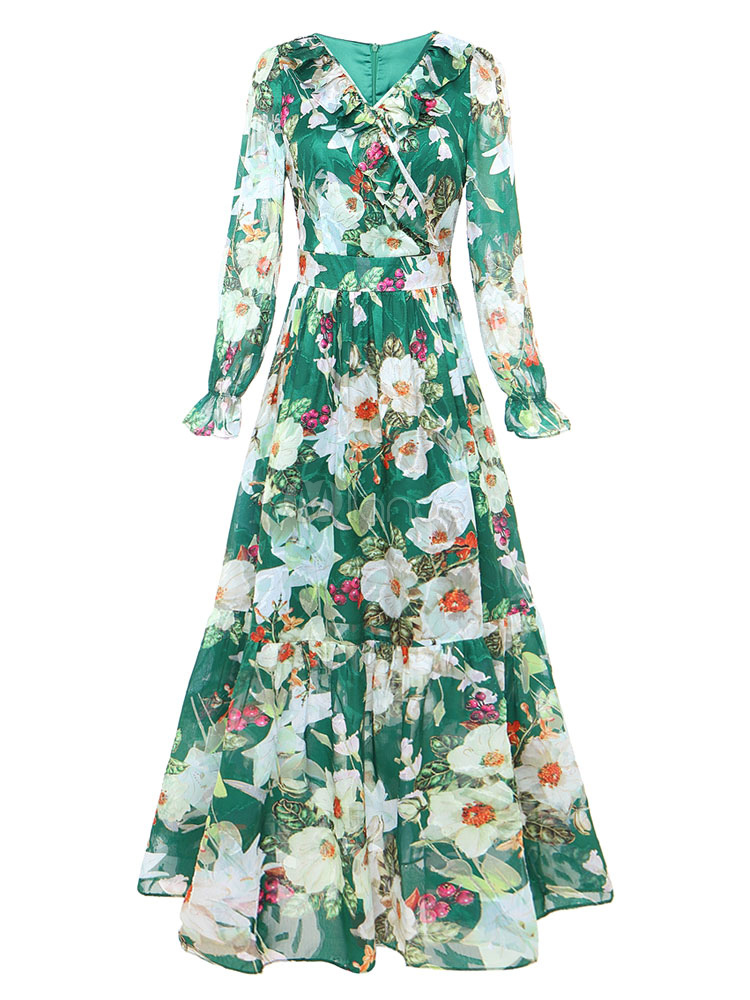 Ruffles t longue robe maxi robe fleurs manches longues for Robe maxi au mariage