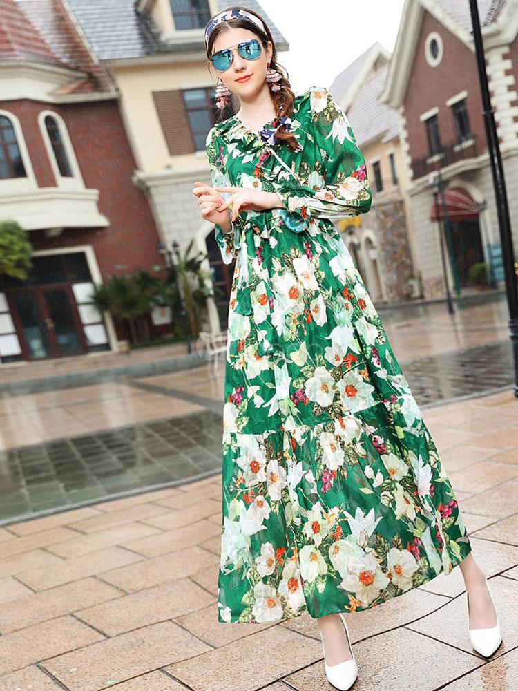 Floral Maxi Dress Green Long Sleeve Women's Ruffles Summer Long Dress (Women\\'s Clothing Party Dresses) photo