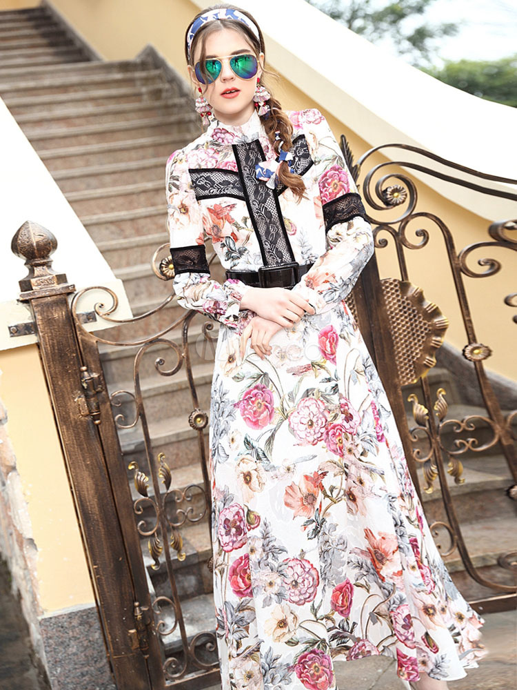 Floral Maxi Dress Long Sleeve Women's Silk High Collar Printed Long Party Dress (Women\\'s Clothing Party Dresses) photo