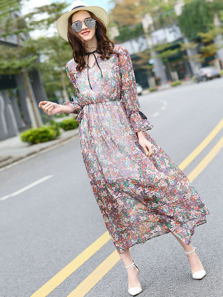 Silk Party Dress Boho Fuchsia Pink V Neck Long Embellished Sleeve Pleated Floral Printed Long Dress (Women\\'s Clothing Party Dresses) photo