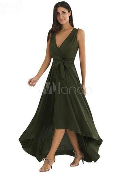Green Maxi Dress Women's V Neck Sash High Low Sleeveless Long Dress (Women\\'s Clothing Maxi Dresses) photo