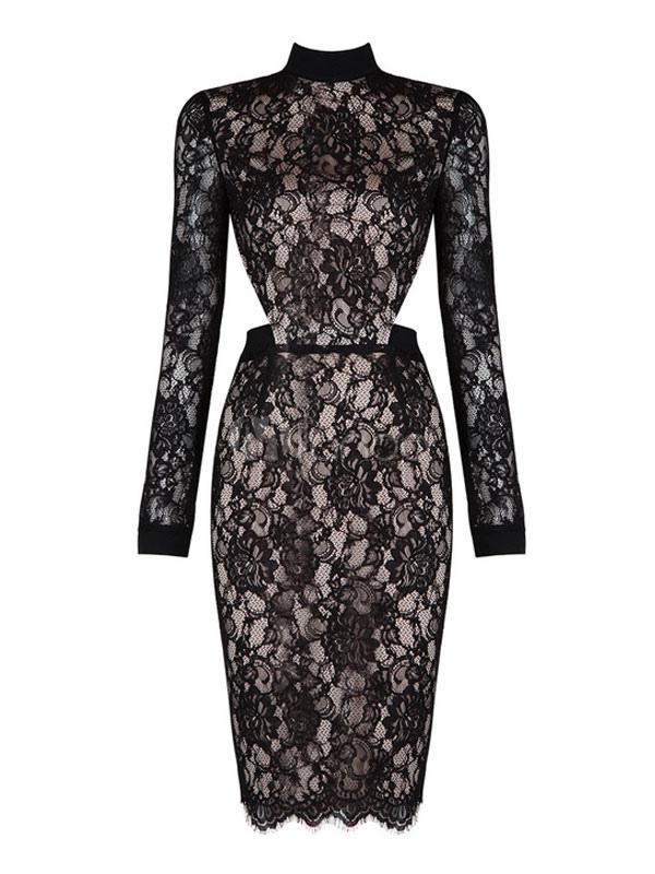 Black Lace Dress Women's Long Sleeve Illusion Bodycon Party Dress (Women\\'s Clothing Party Dresses) photo