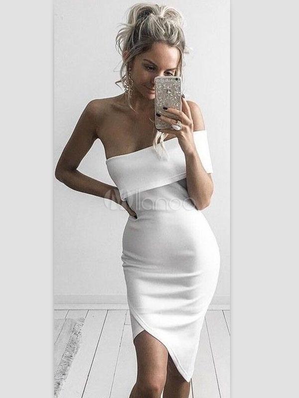 Bodycon White Dress One Shoulder Asymmetrical Women's Sheath Party Dresses (Women\\'s Clothing) photo