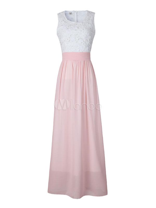 Pink Maxi Dress Lace Hollow Out Women's Sleeveless Chiffon Long Dress (Women\\'s Clothing Maxi Dresses) photo