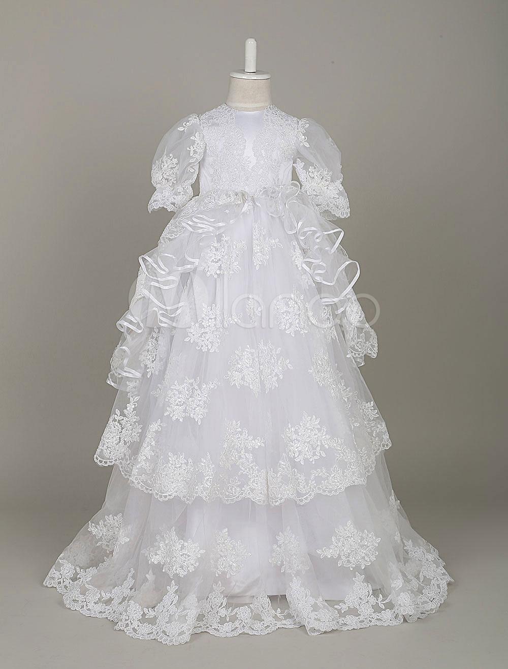 Tulle Flower Girl Dress Vintage Princess Pageant Dress White Short Sleeve Lace Applique Toddler's Dinner Dress With Train (Wedding Flower Girl Dresses) photo