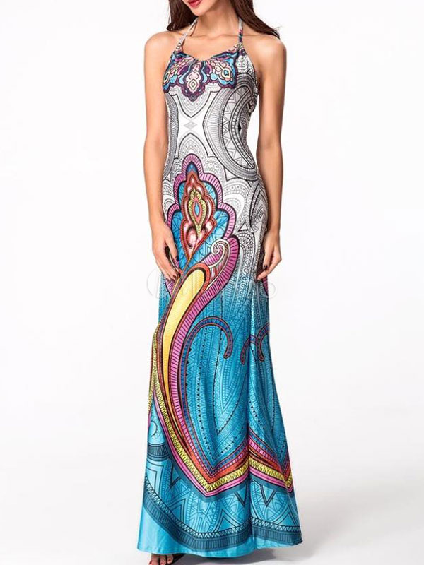 Women's Maxi Dress Light Blue Halter Sleeveless Backless Printed Long Dress (Women\\'s Clothing Maxi Dresses) photo
