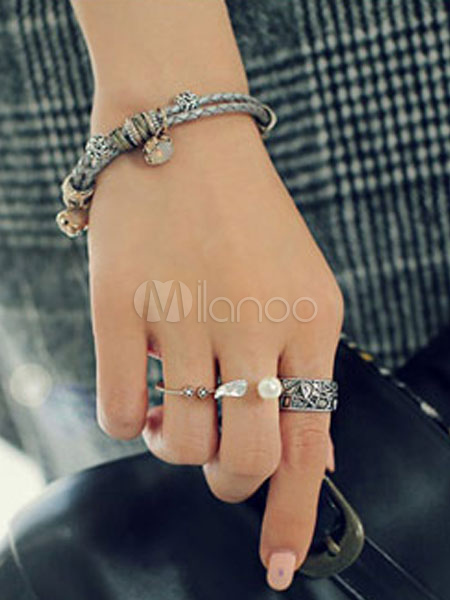 Women's Knuckle Rings Euro Style Pearls Beaded Open Rings In 3 Piece Set thumbnail