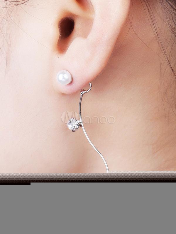 Silver Pierced Earrings Women's Pearls Curved Shape Alloy Chic Earrings thumbnail