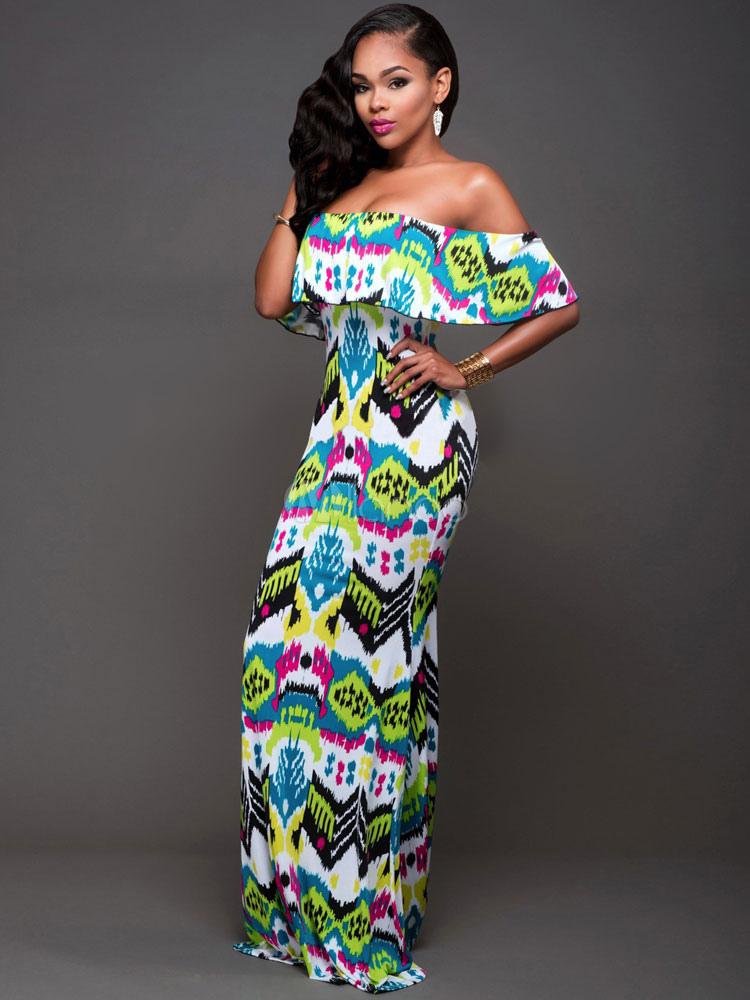 Green Maxi Dress Off The Shoulder Short Sleeve Printed Long Dress For Women (Women\\'s Clothing Maxi Dresses) photo