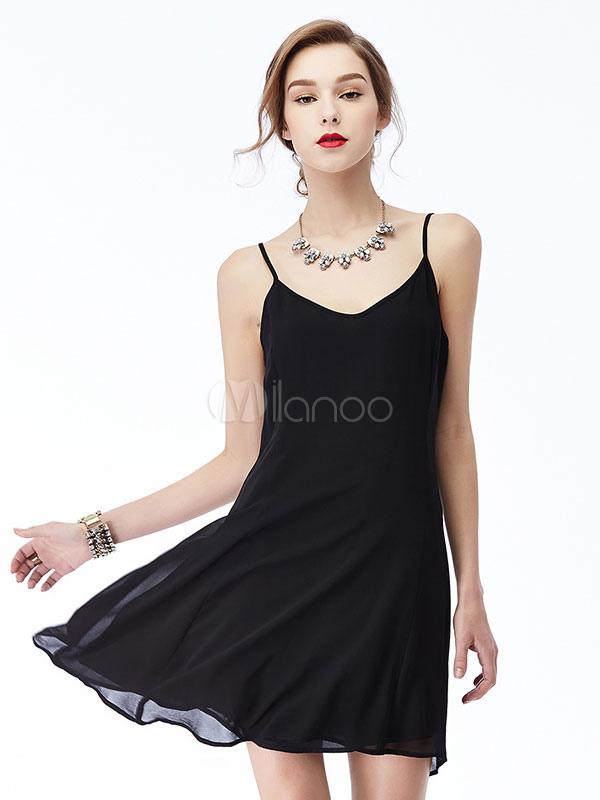 Chiffon Black Dress Short Summer Adjustable Straps Women's Slip Dress (Women\\'s Clothing Summer Dresses) photo