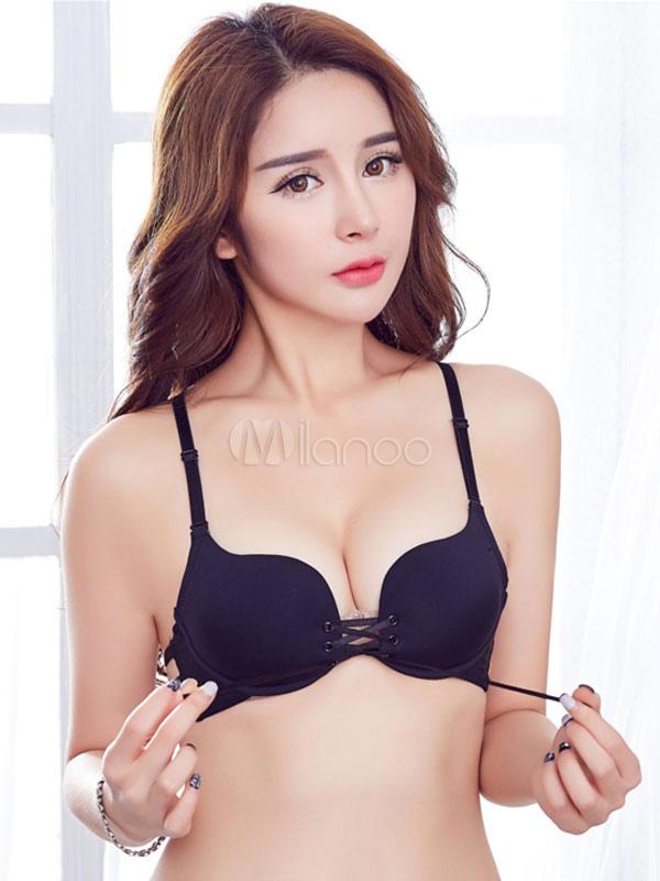 Women's Black Bra Sexy Strappy Sleeveless Lace Up Cotton Bra thumbnail