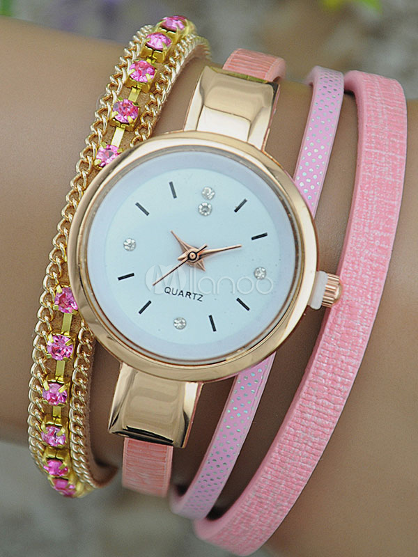 Quartz Wrist Watch Women's Round Dial Jeweled Leather Wrap Band Analog Fashion Watch thumbnail