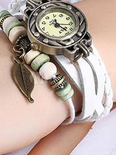 Leather Fashion Watch Women's Round Alloy Dial Dangling Leaf Wrap Band Analog Quartz Watch thumbnail