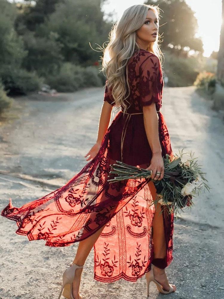 Lace Maxi Dress Women's Burgundy Chiffon Plunging Split Long Dress Sheer Cover Ups (Women\\'s Clothing Maxi Dresses) photo