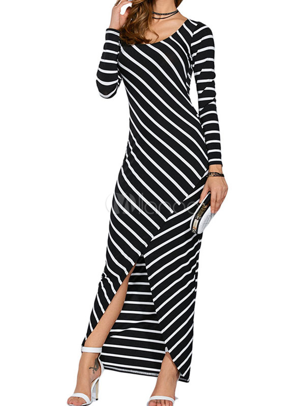 Black Maxi Dress Stripe Long Sleeve Slit Women's Long Dress (Women\\'s Clothing Maxi Dresses) photo