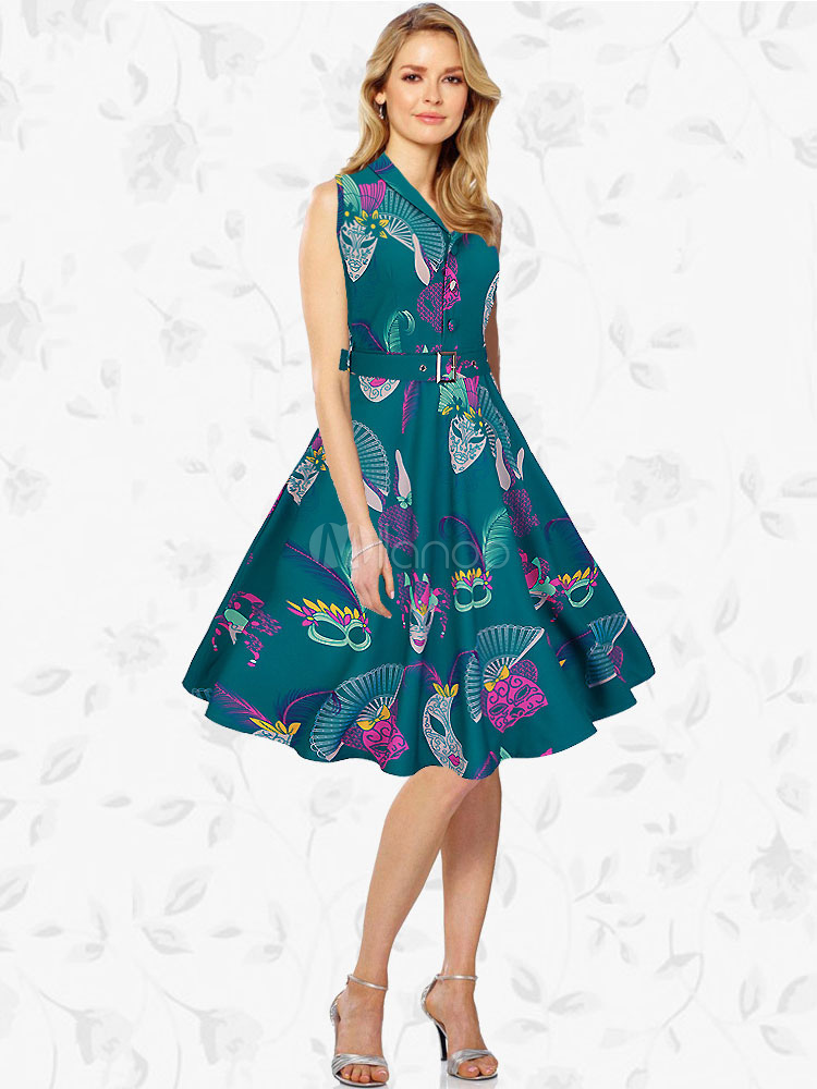 Green Vintage Dress Turndown Collar V Neck Sleeveless Printed Pleated Skater Dress For Women (Women\\'s Clothing Vintage Dresses) photo