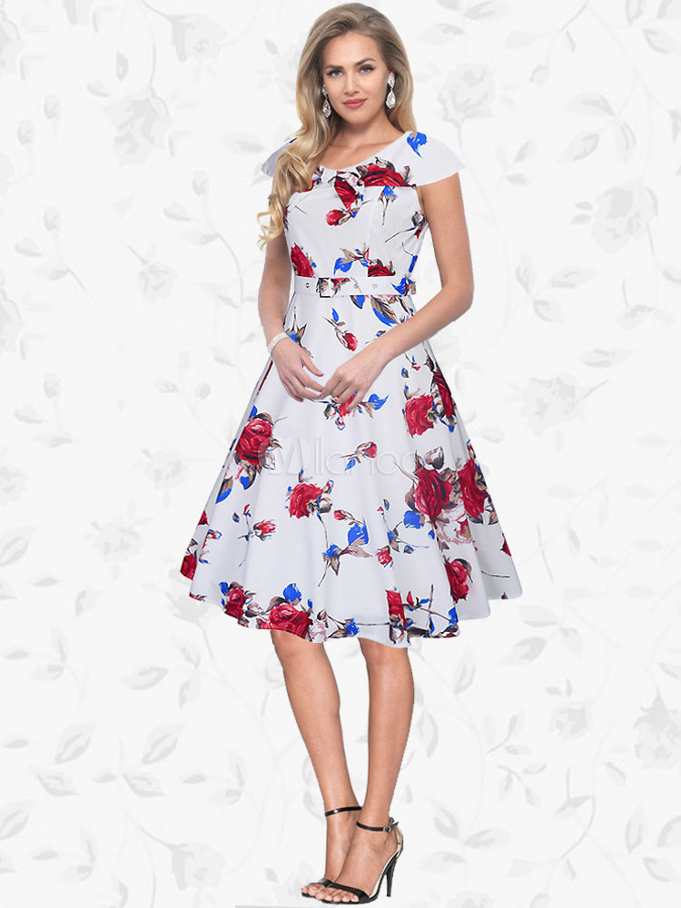 Women's Vintage Dress Round Neck Short Sleeve Floral Printed Skater Dress (Women\\'s Clothing Vintage Dresses) photo