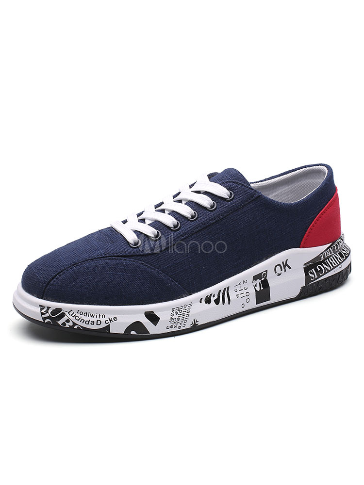Men's Canvas Shoes PU Patchwork Lace Up Round Toe Printed Casual Sneakers thumbnail