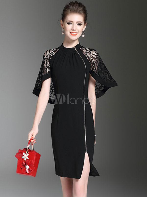 Women's Black Dress Short Zip Up Lace Cape Dress (Women\\'s Clothing Bodycon Dresses) photo