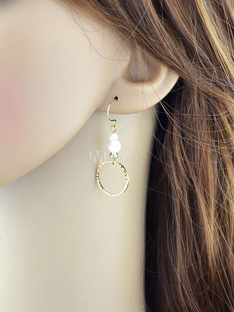 Golden Dangle Earrings Women's Pearls Grommets Alloy Hook Earrings thumbnail