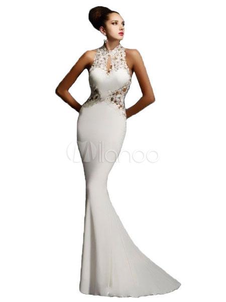 Maxi White Dress Mermaid Lace Illusion Sleeveless Women's Floor Length Party Dresses (Women\\'s Clothing Maxi Dresses) photo