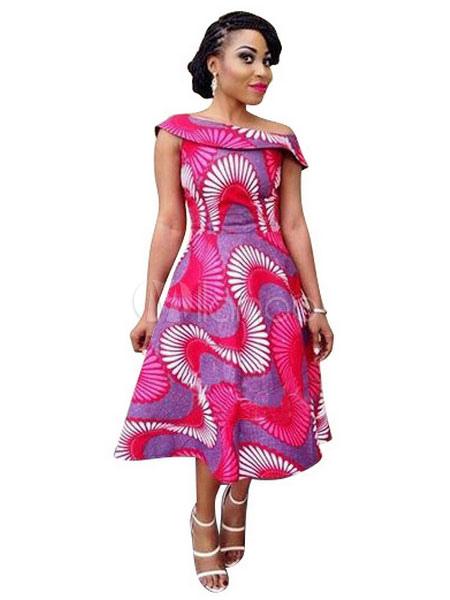 Pink Vintage Dress Asymmetrical Neckline Sleeveless Geometric Printed Pleated Flare Dress (Women\\'s Clothing Vintage Dresses) photo