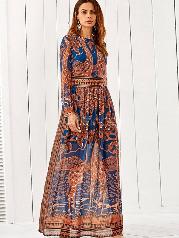 Brown Maxi Dress Boho Silk Round Neck Long Sleeve Waist Training Ethnic Printed Long Dress (Women\\'s Clothing Maxi Dresses) photo