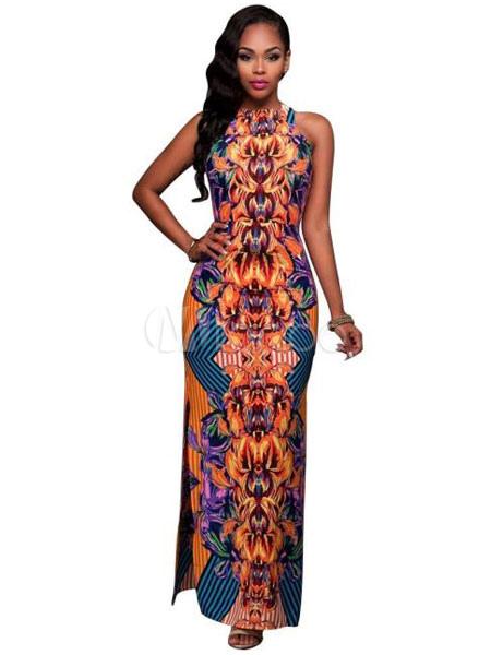 Orange Maxi Dress Boho Silk Round Neck Sleeveless High Slit Long Wrap Dress (Women\\'s Clothing Maxi Dresses) photo