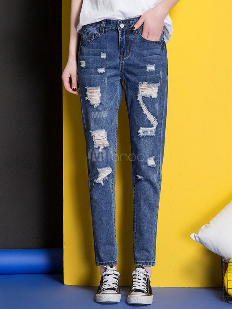 Beau jean femme coupe droite en denim taille haute - Jeans femme taille haute coupe droite ...