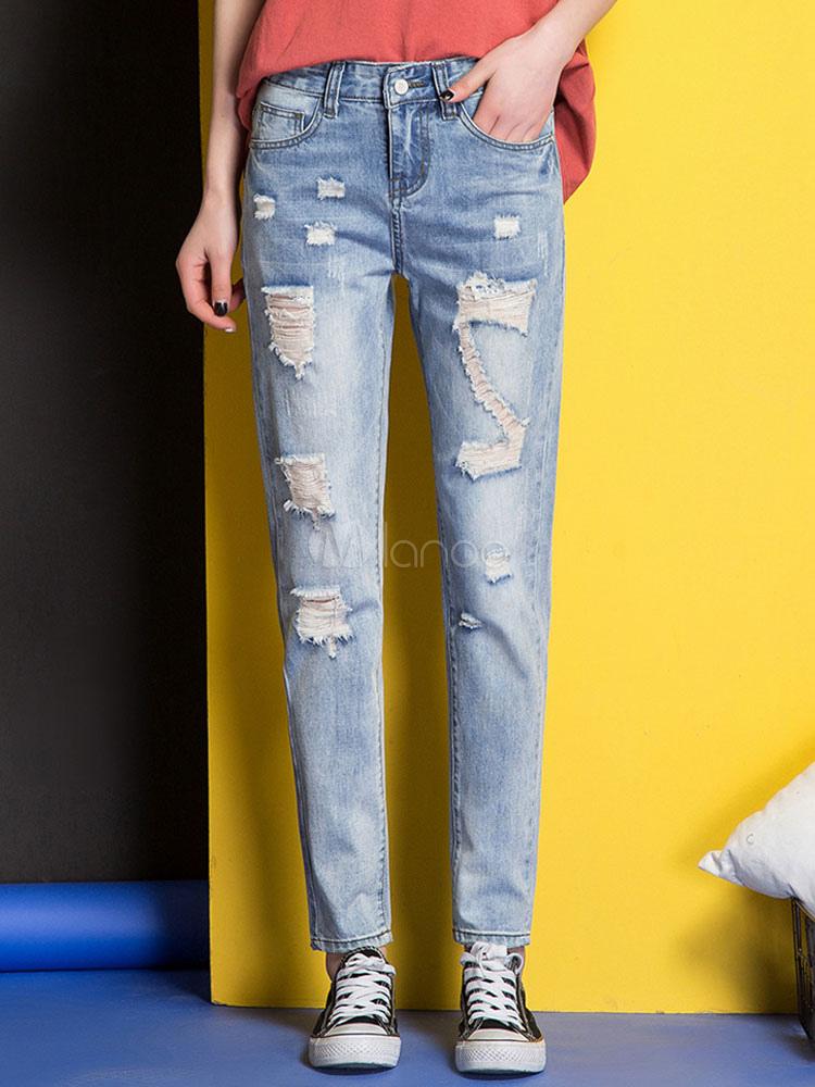beliebte damen jeans frauen zerrissen beunruhigt aus denim kunstlich altgemacht. Black Bedroom Furniture Sets. Home Design Ideas