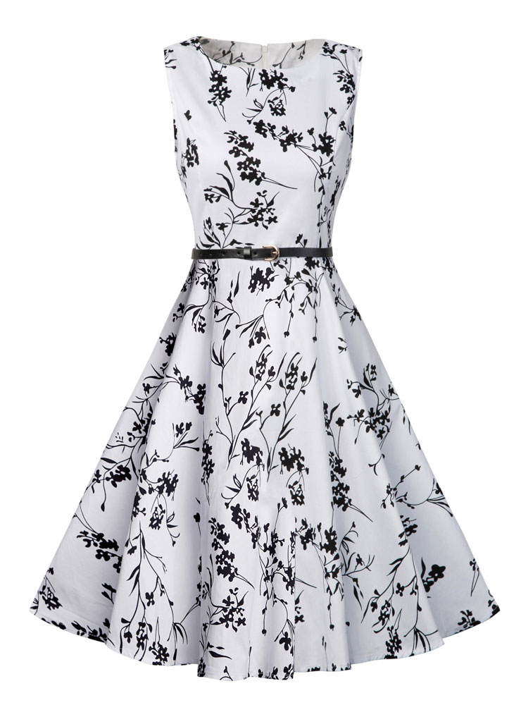 White Vintage Dress Round Neck Floral Printed Sleeveless Pleated Fit Flare Dress With Belt (Women\\'s Clothing Vintage Dresses) photo