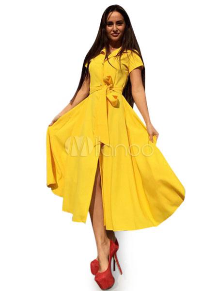 Women's Vintage Dress Yellow Chiffon Short Sleeve Retro Skater Dress (Women\\'s Clothing Vintage Dresses) photo