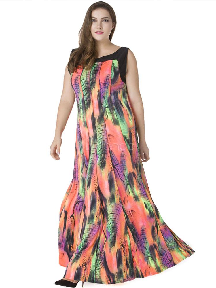 Plus Size Dresses Orange Maxi Sleeveless Women's Printed Milk Silk Summer Long Dress (Women\\'s Clothing Plus Size Clothing) photo