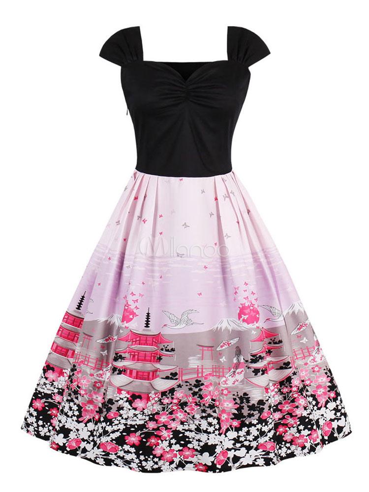 Women's Vintage Dress Square Neck Short Sleeve Printed Slim Fit Skater Dress (Women\\'s Clothing Vintage Dresses) photo