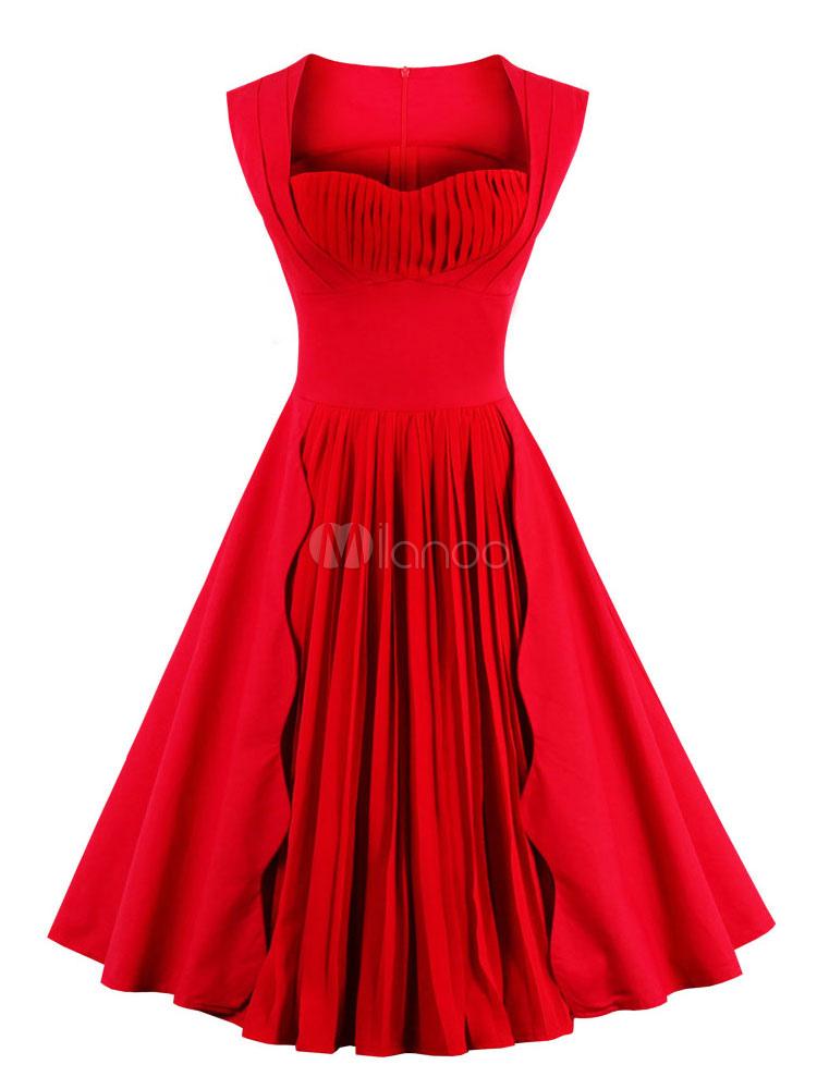 Red Vintage Dresses Sweatheart Sleeveless Pleated Women's Retro Dress (Women\\'s Clothing) photo
