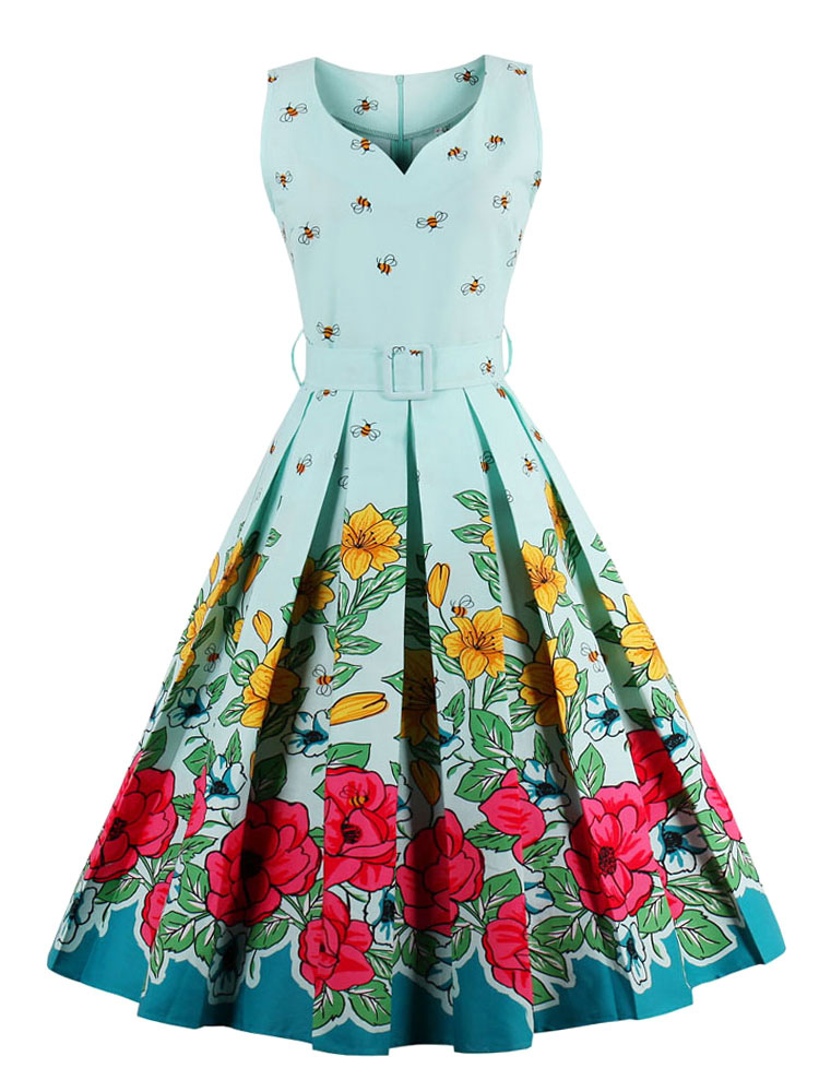 Floral Vintage Dresses Pleated Light Green Women's Sleeveless Belted Retro Dress (Women\\'s Clothing) photo