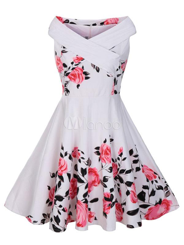 White Vintage Dress Women's Designed Neckline Sleeveless Floral Printed Pleated Skater Dress (Women\\'s Clothing Vintage Dresses) photo